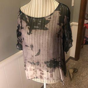 Sheer black, off black and teal blouse, Sz medium